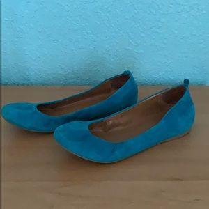J CREW blue suede flats sz9